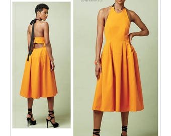 Vogue Sewing Pattern V1546 Misses' Lined Pleated Halter Dress with Neck Tie