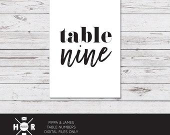 Printable - The 'Pippa & James' Table Numbers | Monochrome | Modern | Wedding Decor
