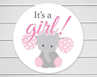 It's a Girl Elephant Stickers, Envelope Seals, Baby Announcement Stickers, Mason Jar Stickers (#140-A)