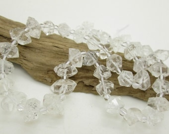 Herkimer Diamond, Genuine Herkimer Crystal Bead, Larger Size Rough Cut, 11-21mm x 6-9mm (8)