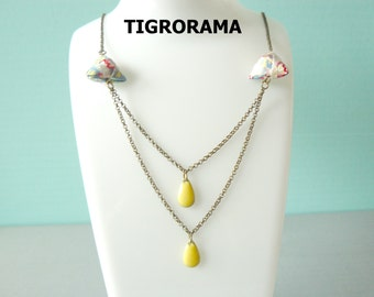 Necklace pearls diamond Japanese paper origami and drops enamelled yellow