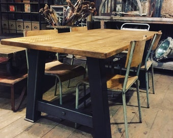 Rustic Industrial Reclaimed Metal 7ft Box A Frame Dining Table Steampunk