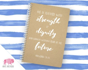 Proverbs 31:25 Spiral Journal | Spiral Notebook | Writing Gift | BB006LG