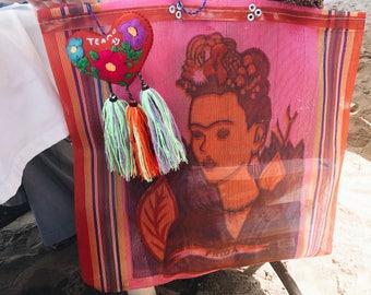 frida kahlo market bag/farmers market bag/mexican bag/mexican grocery bag/frida kahlo/ mexican style/market bag/beach bag