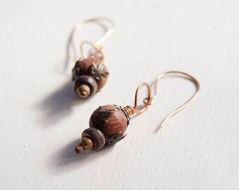 Autumnal dangle earrings, Bronze dangle earrings, wooden and metal, Foliage texture, Fall colours, Boho dangle earrings, minimal bohemian