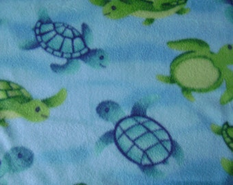 Anti-Pill Underwater Sea Turtles Fleece Fabric Sold by the Yard