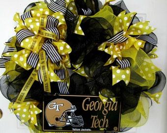 Georgia Tech Wreath, Mesh Wreath, Yellow/Black Wreath, Yellow Jacket Wreath, Football Wreath, College Wreath, Sports Wreath