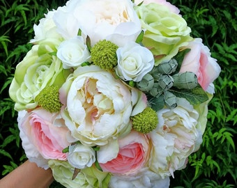 Peach and White Silk Wedding Bouquet featuring Silk Peonies, Roses, Ranunculus and Gumnuts