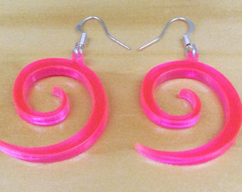 Laser cut earrings, pink, original design