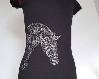 Zentangle horsewomen T-shirt, glitter horse t-shirt,Black  and silver horse