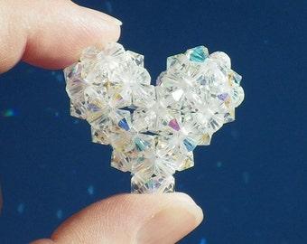 Crystal Heart, Beaded Heart, Puffy Crystal Heart, Made With Vintage Swarovski Crystal Beads, Sun Catcher