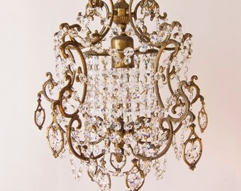RESTORED Vintage Crystal Drops Louis XV birdcage or waterfall chandelier 1950-1960s / Gold bronze / Paris apartment