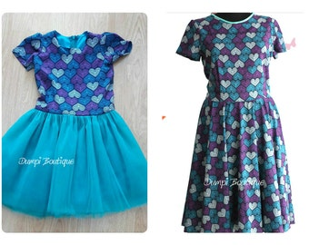 Matching Mom and Daughter Hearts Dresses/Matching Outfits/Mother daughter dress/Mommy and me clothing/Matching Easter dresses/Easter Outfits