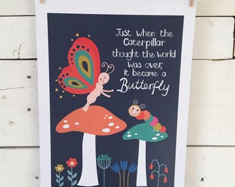 The Caterpillar and the Butterfly print
