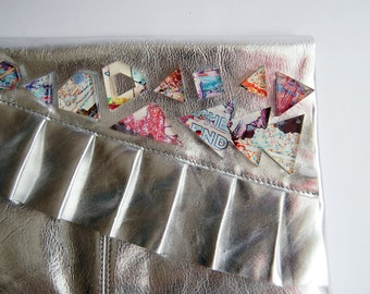 Reclaimed Leather Clutch Bag with Acrylic Embellishment - One off - Customised Metallic Silver Ruffle Handbag