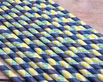 25pc Paper Straws Plaid blue and Yellow