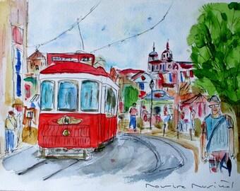 VIEWPOINT OF ALFAMA / unique original watercolor / Portugal / Lisbon tram