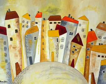 Old town in yellow - acrylic - H 60 cm - W 80 cm - colourful houses world
