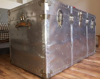 Last Chance! 1950s Extra Large Polished Aluminum Steamer Trunk All Original with FREE SHIPPING