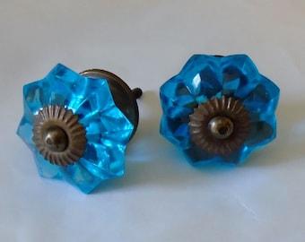 Decorative Glass Knob, Translucent Blue Melon Knob with Antique Gold Accents