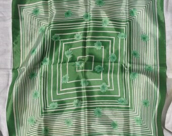 Square Scarf - Green and White Geometric with Green Flowers Rolled Edge - Made in Italy FREE SHIPPING