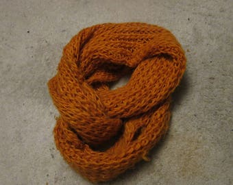 Orange Hand Knitted Infinity Scarf