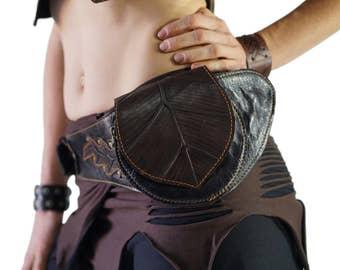 BODHI LEAF - Handmade Leather Utility Belt With Pockets Renaissance Hip Pouch Belt Festival Belt Burning Man Steampunk Belt - BLACK
