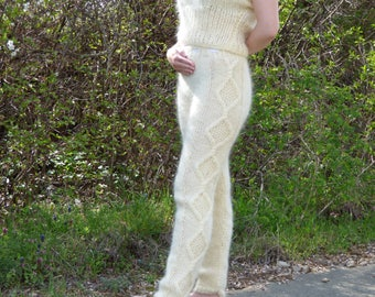 New Hand Knitted Mohair Long Pants,Ivory,Handcrafted