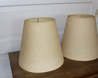 Vintage Grass cloth Lamp Shade Pair