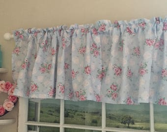 Pink and White Roses on Blue Valance ~ 44 Inches Wide