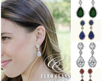 Rose Gold Earrings | Bridal Earrings | Bridesmaid Jewelry | Wedding Jewelry | Bridesmaid Earrings | Emerald | Sapphire | Ruby Earrings