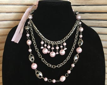Pink & Silver Necklace, Pearls, Tie Back Necklace