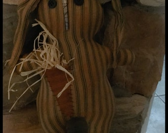 Made to order primitive green ticking Easter Spring bunny rabbit