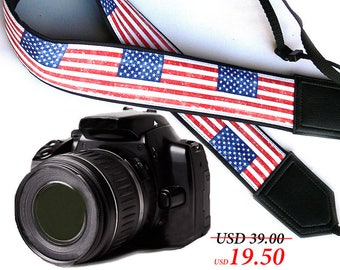 US flag camera strap. American flag camera strap. DSLR / SLR Camera Strap. Camera accessories.