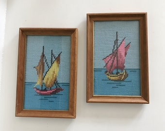 Vintage Colorful Needlepoint Nautical Art, Set of 2