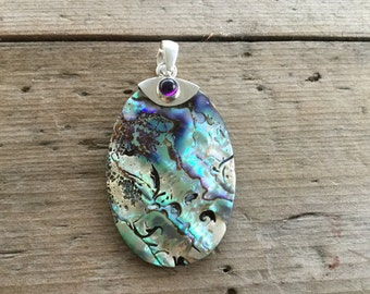 Gorgeous Paua Shell Sterling Silver Pendant with Amethyst - Stunning Colours