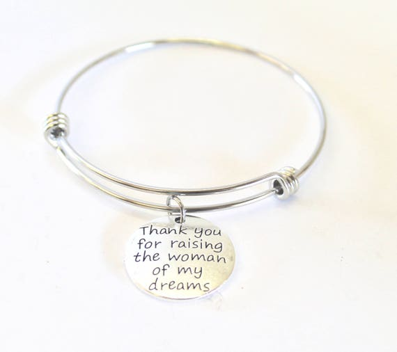 Thank You For Raising The Woman Of My Dreams Expanding Bangle Charm Bracelet, Mother-In-Law Gift, Thank You Gift, Mother Of The Bride Gift