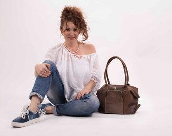 Handmade Tote Bag, Brown Leather Tote, Over Size Tote Bag, Shoulder Bag, Travel Bag, Shopper Bag, Designer Bag, Women Bag, Italian Leather
