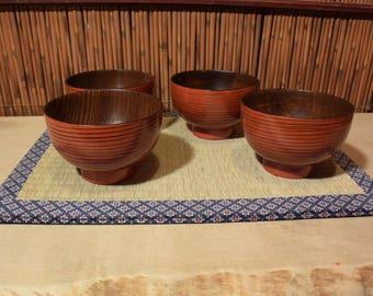 Vintage Japanese Wooden Lacquer Rice Bowl Set of 4 Antique Red Modernist Design