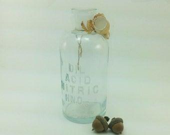 Vintage Laboratory Bottle - Unused Nitric Acid Bottle in Original Condition - Free Shipping
