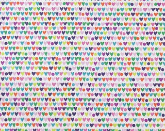 """Heart to Heart on natural Cotton Woven - 1/4"""" Hearts, Alexander Henry"""