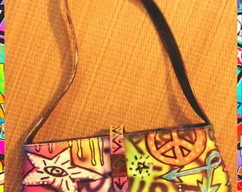 Graffiti hand painted small Guess bag