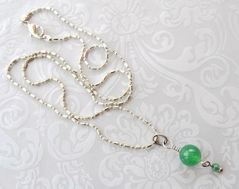 Green Aventurine Necklace, Beaded Necklace, Green Jewelry, Minimalist Jewelry, Layering Jewelry, Gift For Women, Boho Jewelry, Birthday Gift