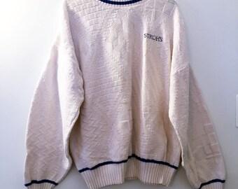 VINTAGE STROH'S BEER Sweater - Detroit Beer - Stroh's Beer - Vintage Sweater - Cream Sweater W/Blue Trim and Logo - XLarge