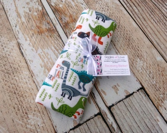 Large Receiving Blanket, Cotton Flannel Swaddling Rolled Hem Serged Edge, Dino Dinosaurs Lime Green Teal, Baby Boy, Light Weight
