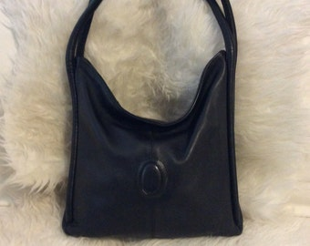 Vintage Cartier black leather bag