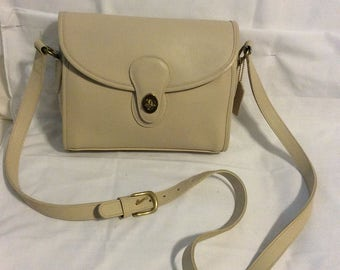 Vintage coach cream leather bag