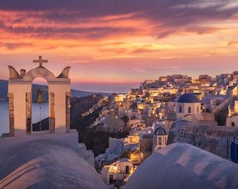 Santorini Glow, Oia, Greece Photography, Cyclades, Blue Domes, Mediterranean Sea, Thira, Whitewashed - Travel Photography, Print, Wall Art