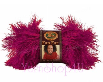 RASPBERRY FUN FUR Yarn Lion Brand eyelash yarn novelty yarn pink yarn knit, crochet scarf yarn, furry yarn, fuzzy scarf yarn, fluffy yarn