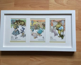 Classic childrens stories - Alice in Wonderland, Winnie the Pooh and Peter Rabbit framed wall art - Christening childrens gift